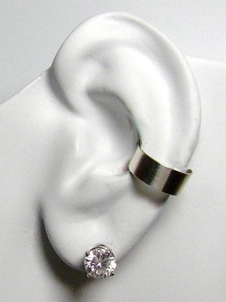 Ear Cuff Silver Ear Band Non-pierced Cartilage Wrap Earring Fake Conch No Piercing Cuff Earring Simple Ear Cuff Earring 4mm Smooth E4SSSM