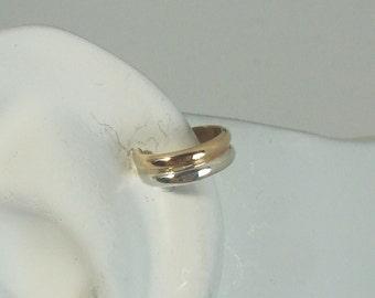 MINI Ear Cuff Cartilage Faux Helix,Fake Helix Earring No Piercing Hoop Simple Earcuff Non-pierced Upper Ear Ring 2 Tone Gold/Silver MC2TGFSS