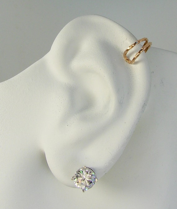 POST Pierced Cartilage Helix Hoop Hex piercing Conch Earring Upper Conch Tragus Body Piercing Hammered Pink ROSE Gold MCWR14KHMP