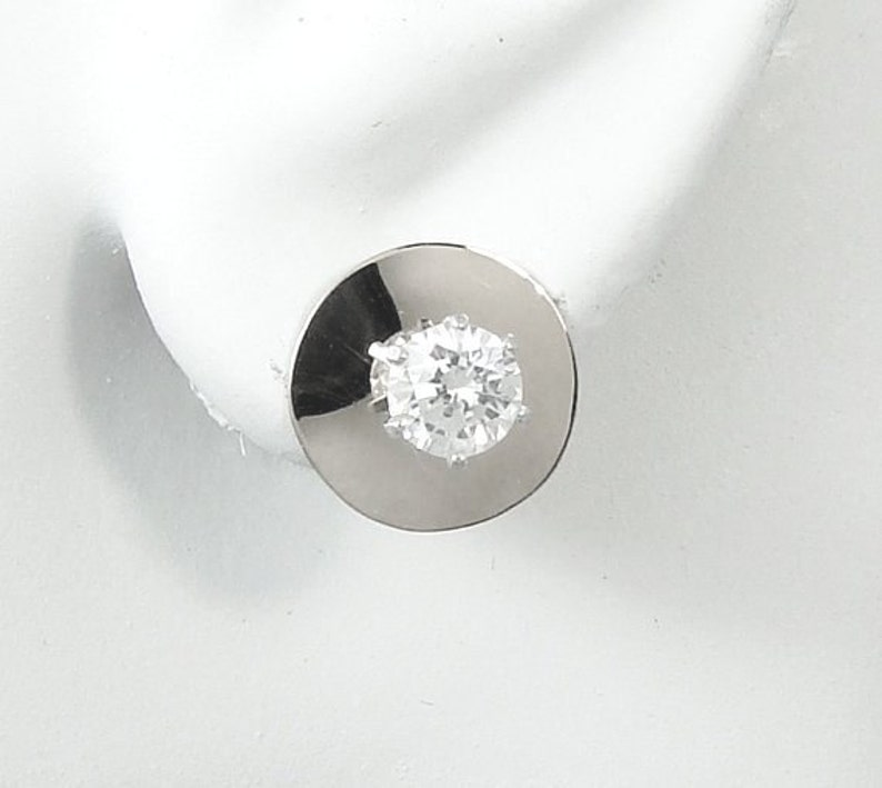58d06661c0e3e EARRING JACKETS for Diamond Studs, Sterling Silver Round Smooth Domed  Circle Earring Jackets, Gemstone stud enhancers jacket JCIRCLE12mmSSSM