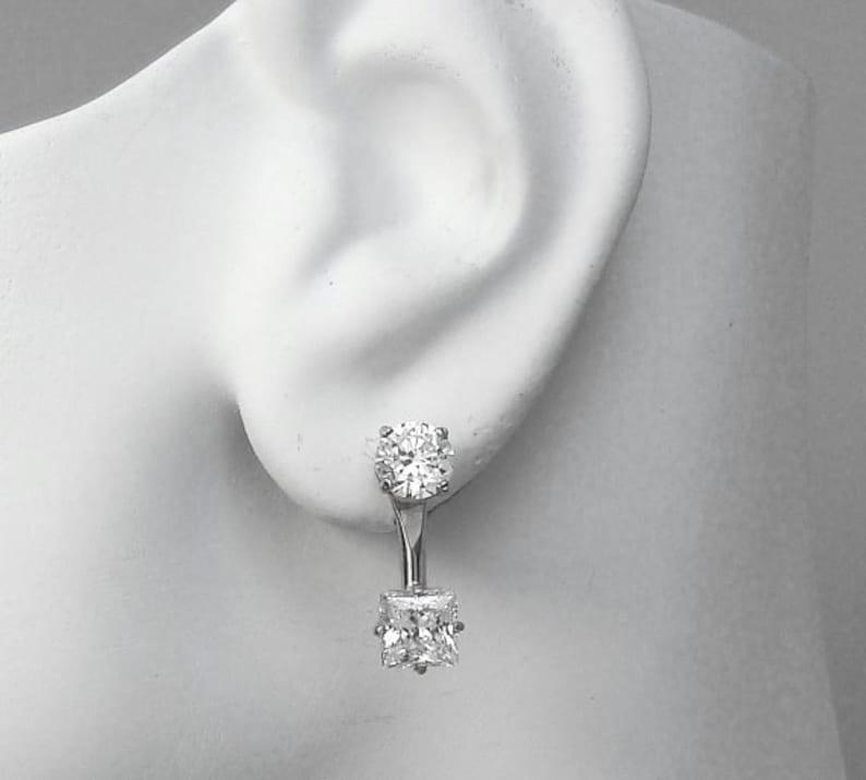 55e0e3d08 14K White Gold Earring Jackets Diamond Jackets Ear Jackets | Etsy
