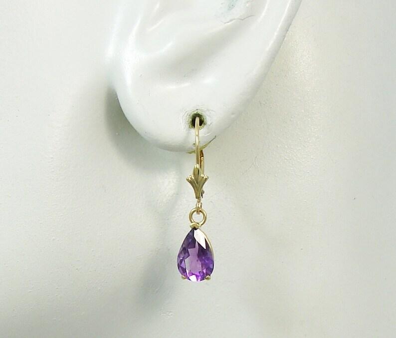 14K Gold Dangle Purple AMETHYST Pear Drop Gemstone Lavelier Lever Back Earrings Solid Gold European style ear wires 14KAMPEARLLB