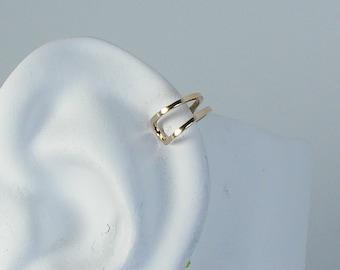 Helix Piercing, Cartilage Hoop, Hex piercing, 14K Gold Body Jewelry, Upper Ear Helix, Tragus, Rook,Body Piercing, Gold Square MCDOUB14KP
