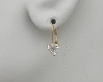 Earrings 14K Solid Gold Cubic Zirconia, Diamond Look, 6MM Triangle Gemstone Lever Back Earrings, European Wire Drop Earrings 14KCZ6TRFLB
