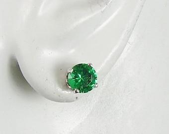 14K White Gold Post Earrings Round Mt. St. Helen's Gemstone Earrings Stud Earrings P14KWSH6.5MRD