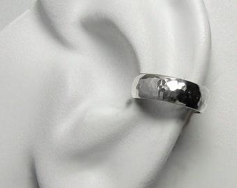Ear Cuff Solid Sterling Silver Non-pierced Cartilage Cuff Earring, Fake Conch No Piercing Earring, Faux Pierced Hoop Domed Hammered ELDSSHM