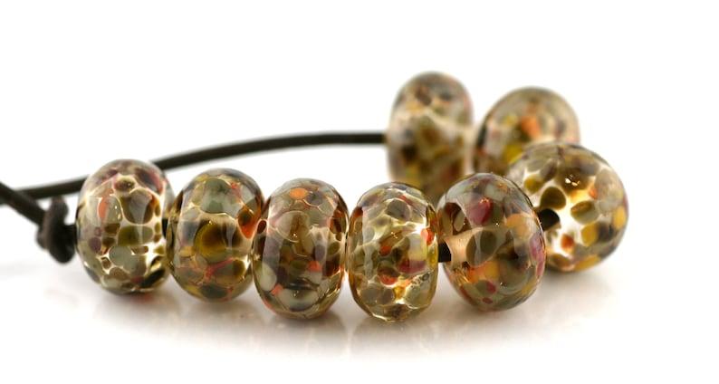 3749 Fallen Leaves Handmade Glass Lampwork Beads 8 Count SRA by Pink Beach Studios
