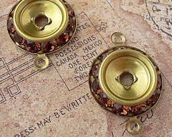2 Vintage Swarovski Rhinestone Connectors Amber Topaz 2-Loop Drops Findings Earth Tones