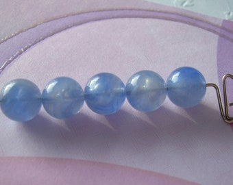 10 Vintage Lucite Beads Blue with White 9mm Rounds Denim Clouds
