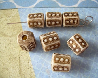 7 Ancient Dice Vintage Lucite Beads Brown Ivory Tan