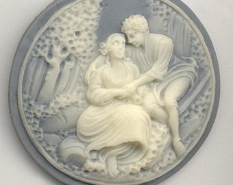 Large Vintage Cameo Lucite Blue Ivory Young Lovers Romantic Couple