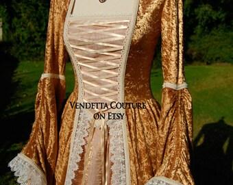 Vente robe de conte de fées Renaissance mariage robe taille moyenne or Ivoire