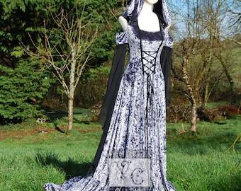 Robe dos nu fantaisie gothique inspiré à capuche robe ouverte épaule Train étain gris velours petit prêt fait