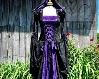 Medieval Gothic inspired Hooded Dress Made to order in sizes S-XXL & choice of colours