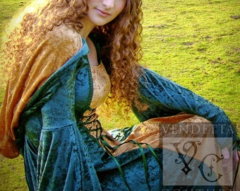 Elven dress Medieval Gothic Hooded Dress Custom made in sizes S-XXL Green & Gold