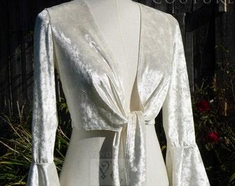 Prêt avant fait Ivoire concassée velours Wrap Top cravate Style ballerine Multi taille Bridal Wrap demoiselle d'honneur