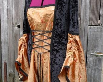 Vente prêt fait taille XXXL médiéval gothique Halloween eu mariage robe noire & Lt cuivre LOTR