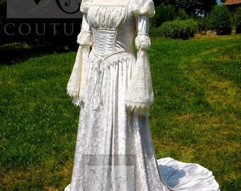 VENTE * Renaissance romantique conte de fées mariage robe Ooak US6/UK10 victorien