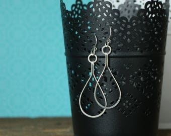 Handmade Sterling Silver Hammered Teardrop Dangle Earrings