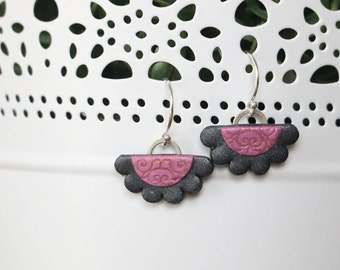 Pink and Charcoal Polymer Clay Stamped Doily Earrings