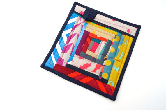 Modern Pot Holder in Colorful Abstract Quilted Patchwork
