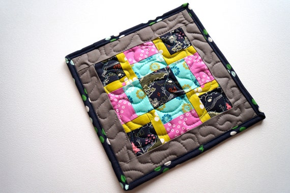 Quilted Fabric Pot Holder with Eclectic Patchwork, Modern Pink and Blue Cloth Hot Pad