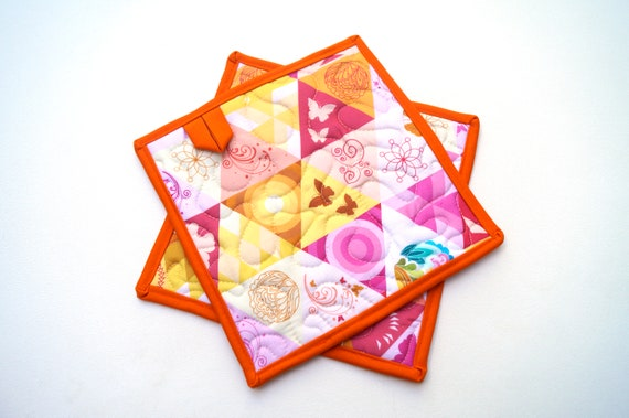 Quilted Fabric Pot Holders with Vibrant Triangle Print with Hanging Tab Option