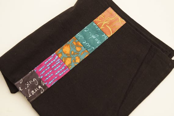 Black Tea Towel with Colorful Patchwork Accent, Contemporary Kitchen Linen