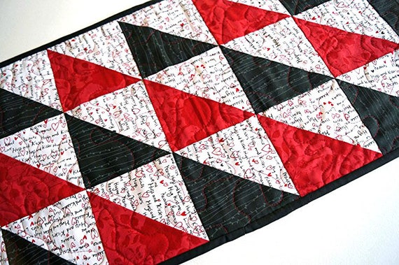 Valentine's Day Quilted Table Runner with Cute Text Patchwork in Red, Black and White