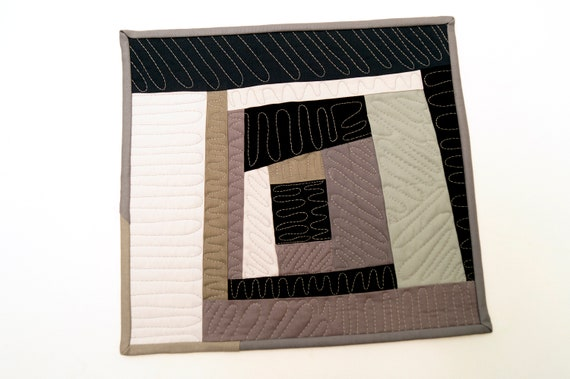 Modern Patchwork Mini Quilt in Black and Grey Cotton Fabrics