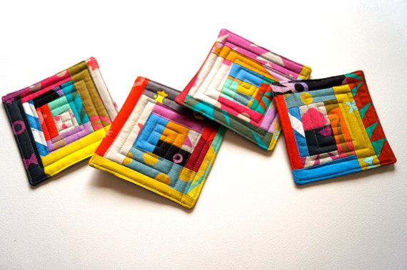 Batik Quilted Fabric Coasters with Colorful Patchwork, Modern Abstract Cloth Drink Ware, Set of Four