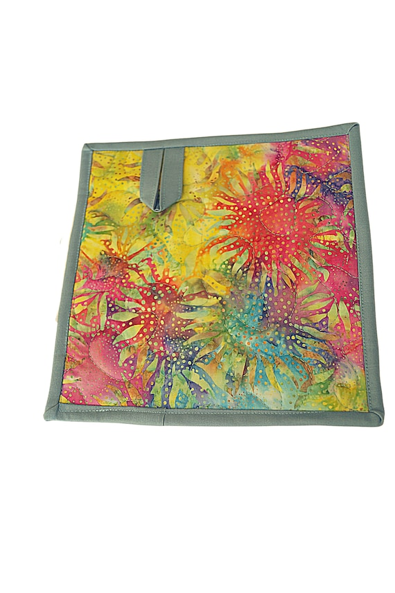 Quilted Batik Fabric Pot Holder with Colorful Sunflower Print, Hand Dyed Cloth Hot Pad