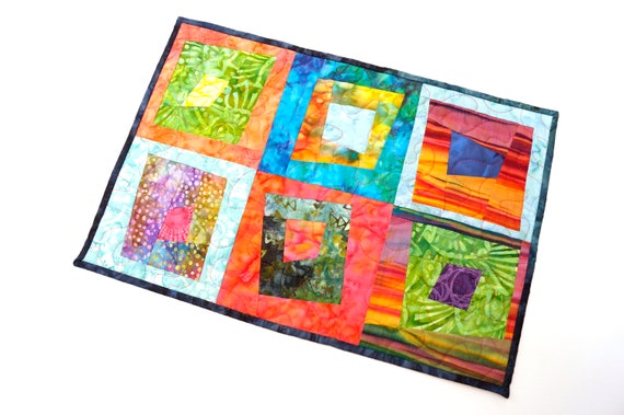 Modern Mini Quilt with Vibrant and Tropical Batik Fabric Patchwork, Table Topper, Place Mat, Wall Hanging