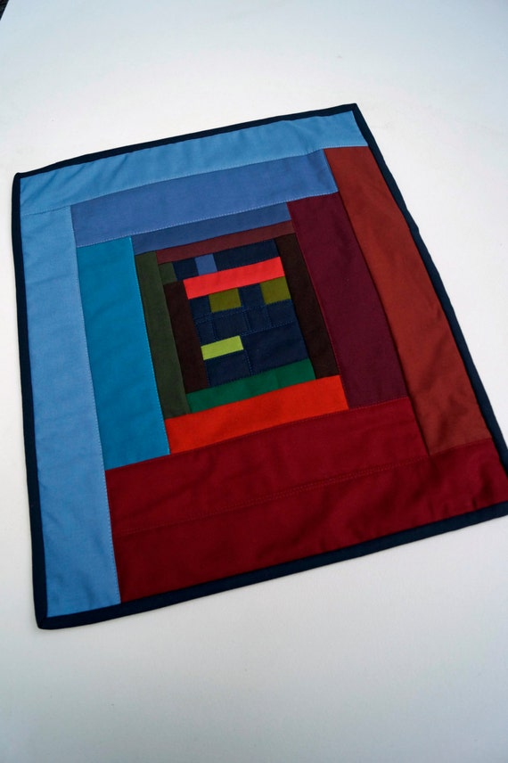 Quilted Wall Hanging or Table Topper in Funky, Colorful Design