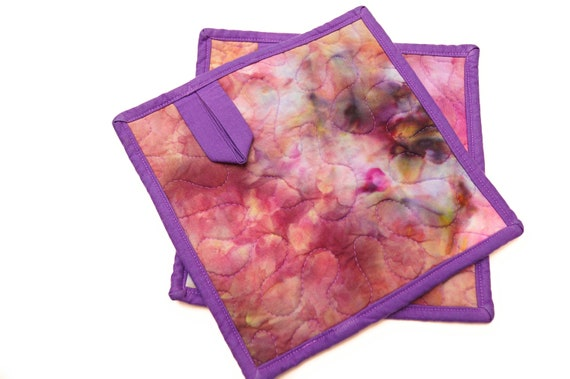 Pot Holders with Quilted Hand Dyed Fabric in Shades of Pink, Purple and Green, Set of Two