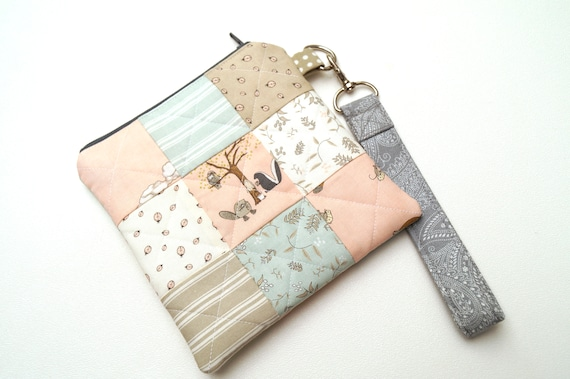Pastel Animal Fabric Padded Zipper Pouch with Colorful Patchwork and Removable Wristlet