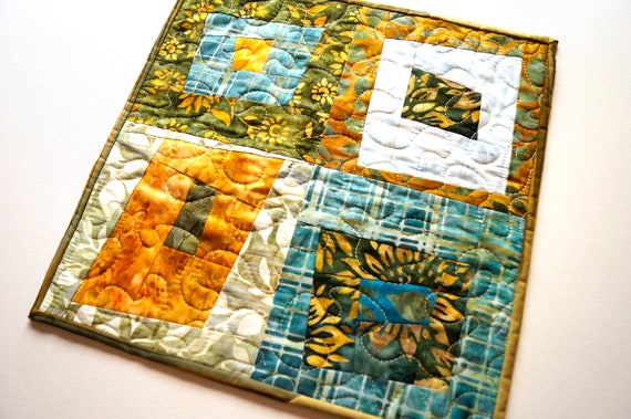 Batik Fabric Patchwork Quilt for use as a Table Topper, Place Mat or Wall Hanging