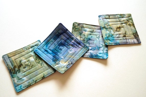 Quilted Coasters with Hand Dyed Batik Fabric in Shades of Blue, Set of Four