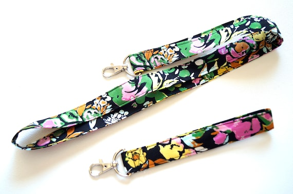 Colorful Floral Fabric Lanyard and Wristlet Key Chain, Your Choice of One or Both