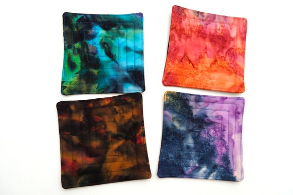 Colorful Batik Quilted Fabric Coasters, Hand Dyed Cloth Drink Ware, Set of Four
