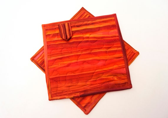 Batik Quilted Fabric Pot Holders in Shades of Red and Orange, Choice of One Hot Pad or Set of Two with Hanging Tab Option