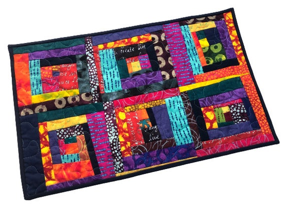 Abstract Patchwork Mini Quilt with Vibrant and Colorful Log Cabin Pattern, Large Abstract Fabric Wall Hanging