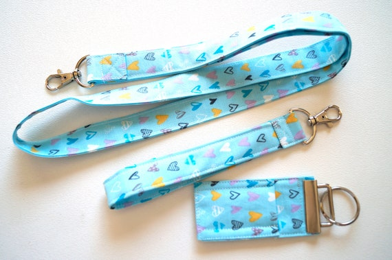 Blue Heart Fabric Lanyard, Wristlet, Chap Stick Holder Key Chain, Your Choice of One or All