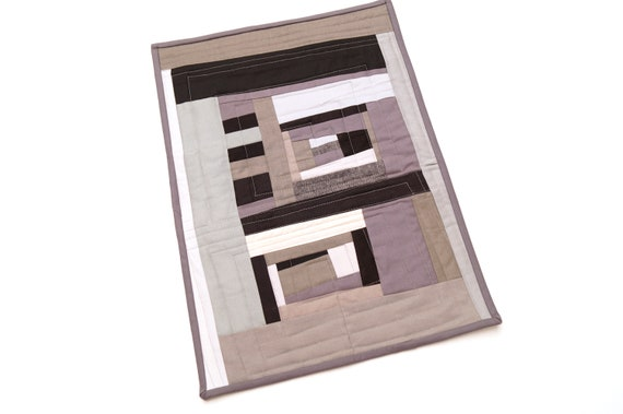 Modern Mini Quilt with Abstract Black and Grey Patchwork, for use as a Place Mat, Table Topper or Wall Hanging