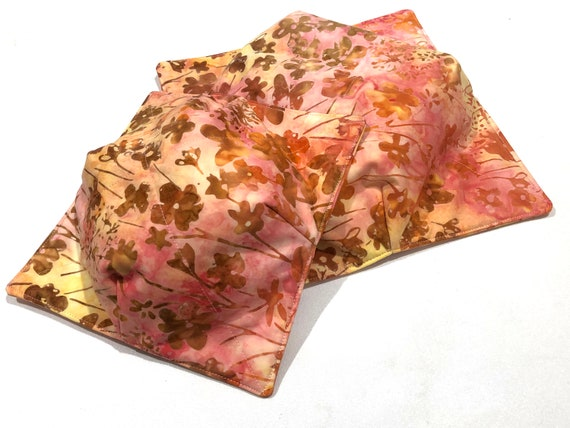 Batik Fabric Microwave Bowl Cozy with Pink and Yellow Floral Print in Large or Regular Size, Soup or Ice Cream Bowl Holders