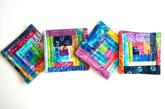 Quilted Coasters in Colorful Patchwork, Tropical Batik Fabric Drink Ware, Set of Four