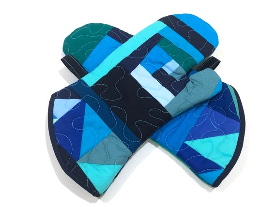 Quilted Fabric Oven Mitts with Blue Green Abstract Patchwork