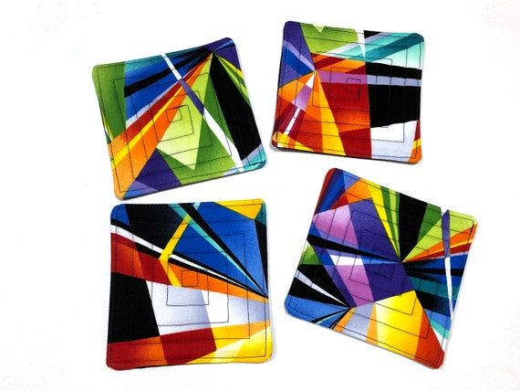 Abstract Quilted Fabric Coasters, Colorful Cloth Drink Ware, Set of Four