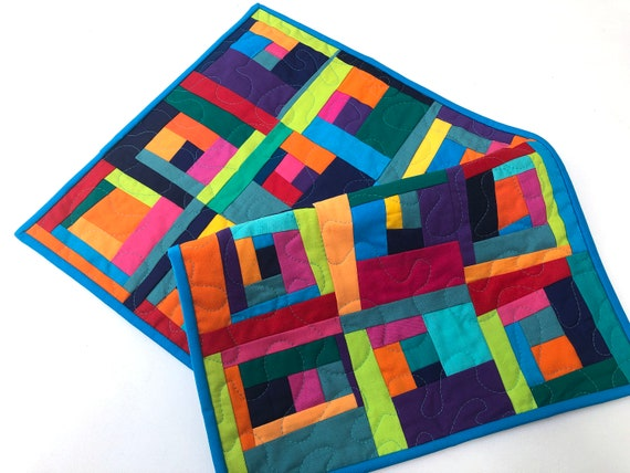 Modern Quilted Fabric Table Runner or Wall Hanging with Colorful Log Cabin Patchwork,