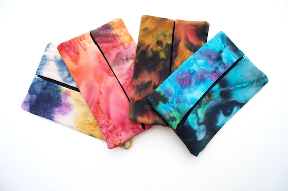 Travel Size Tissue Holder with your choice of Vibrant Hand Dyed Cotton Batik Fabric